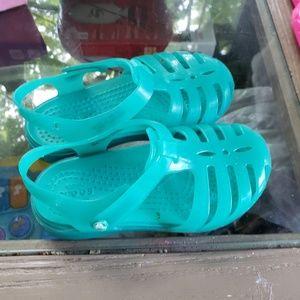 Blue jelly crocs